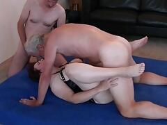 Dutch gangbang slut creampied with double orgasm
