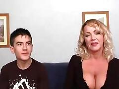 Busty MILF and young guy